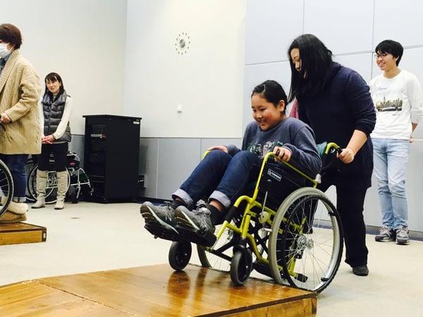 Chikako Sato experiences wheelchair user
